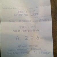 Photo taken at Bank Negara Indonesia (BNI) Cepu by Luthfia P. on 8/18/2014