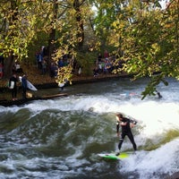 Photo taken at Eisbach Wave by Markus F. on 11/3/2012
