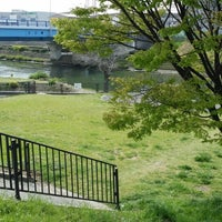 Photo taken at 神崎川河川敷 by eva_ s. on 4/12/2014