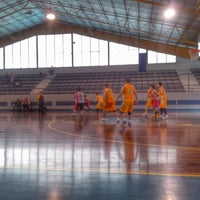Photo taken at Xavier School Wooden Court by Lester C. on 8/17/2014