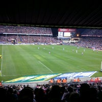 Photo taken at Estadio Vicente Calderón by Gonzalo B. on 10/7/2012