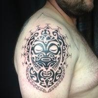 Photo taken at Kustom Kulture Tattoo Studio by Allan B. on 3/23/2014