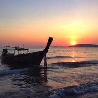 Photo taken at Ao Nang Beach by Anna S. on 2/28/2014