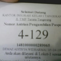 Photo taken at Kantor Imigrasi Kelas 1 Tangerang by Demaz A. on 6/3/2014