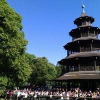 Photo taken at Biergarten am Chinesischen Turm by Ka r. on 6/8/2013