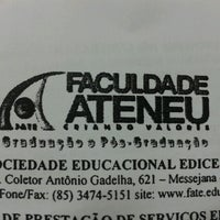 Photo taken at Faculdade Ateneu - Sede Messejana by Hebert F. on 1/22/2013