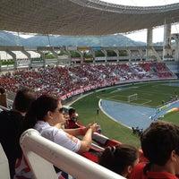 Photo taken at Olympic Stadium (Engenhão) by Annalu D. on 1/19/2013