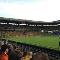Photo taken at Brøndby Stadion by Jonas S. on 5/16/2013