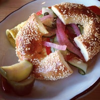 Photo taken at Beauty's Bagel Shop by Xande M. on 10/3/2012