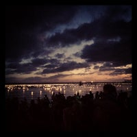Photo taken at Memorial Day Lantern Floating Ceremony @ Ala Moana Beach Park by Amy W. on 5/29/2012