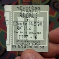 Photo taken at Marcus Hollywood Cinema by Tony G. on 10/23/2011