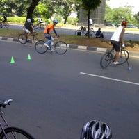 Photo taken at Halte Bus Dukuh Atas by Albert C. on 7/1/2012