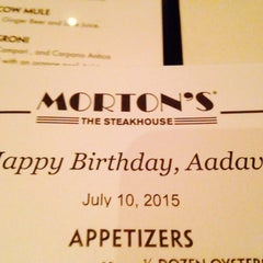 Photo taken at Morton's the Steakhouse by Aadav G. on 7/11/2015