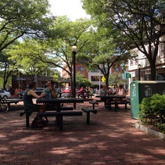 Photo taken at Davis Square by Tom R. on 8/28/2015