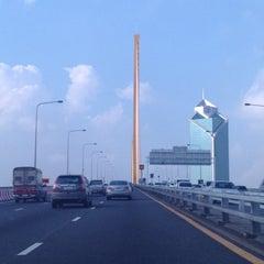 Photo taken at สะพานพระราม 9 (Rama IX Bridge) by Pop V. on 10/22/2013