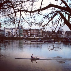 Photo taken at Kew Railway Bridge by Ben S. on 1/23/2014