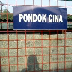 Photo taken at Stasiun Pondok Cina by Dhydyan S. on 12/2/2012