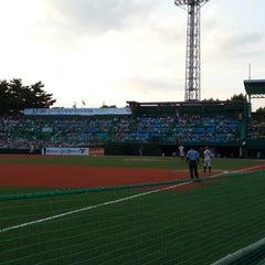 Photo taken at 청주종합운동장 야구장 (Cheongju Baseball Stadium) by Sun-ho K. on 8/14/2013