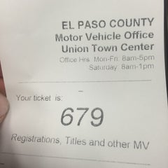 Photo taken at El Paso County Clerk & Recorder (Union Town Center) by Steve E. on 10/24/2014