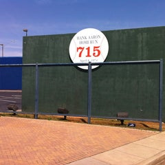 Photo taken at Hank Aaron 715 Home Run Marker by Ed S. on 4/2/2013