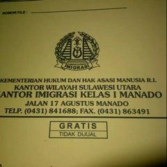 Photo taken at Kantor Imigrasi Kelas I Manado by Janthy K. on 3/25/2013