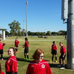 Photo taken at Corinth Soccer Fields by Erica M. on 10/4/2014