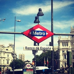 Photo taken at Metro Banco de España by Redha A. on 1/8/2014