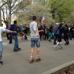 Photo taken at Central Park Dance Skaters Association (CPDSA) — Free Roller Skating Rink by Burcu E. on 4/27/2014