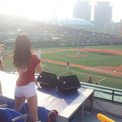 Photo taken at 목동야구장 (Mokdong Baseball Stadium) by Seo E. on 5/4/2013