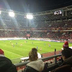 Photo taken at Стадион «Локомотив» by Mikhail on 10/26/2013