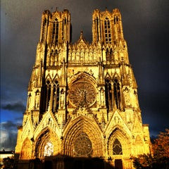 Photo taken at Cathédrale Notre-Dame de Reims by William F. on 10/14/2012