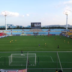 Photo taken at 광양축구전용구장 (Gwangyang Football Stadium) by WS L. on 7/1/2015
