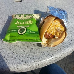 Photo taken at Biker Jim's Gourmet Dogs by Mike W. on 11/7/2012