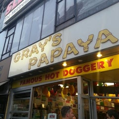 Photo taken at Gray's Papaya by Ricky M. on 4/28/2013
