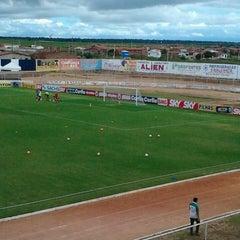 Photo taken at Estádio Municipal José Nazareno do Nascimento (Nazarenão) by Bruno G. on 9/8/2013