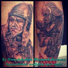 Photo taken at Kustom Kulture Tattoo Studio by Wendy B. on 10/3/2014