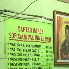 Photo taken at Sop Ayam Pak Min Klaten by Bagus A. on 1/18/2013