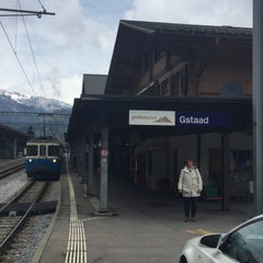 Photo taken at Bahnhof Gstaad by Nicole V. on 4/24/2016