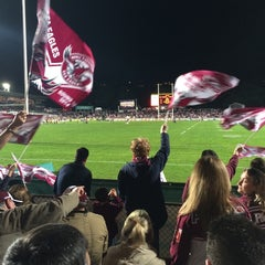 Photo taken at Brookvale Oval by Ariadne S. on 6/27/2014