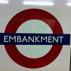 Photo taken at Embankment London Underground Station by Kristina K. on 2/28/2012