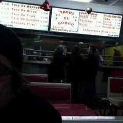 Photo taken at Tacos El Gordo by Maria B. on 1/7/2012