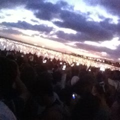 Photo taken at Memorial Day Lantern Floating Ceremony @ Ala Moana Beach Park by Erik N. on 5/29/2012