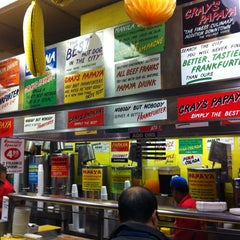 Photo taken at Gray's Papaya by Aardvark D. on 4/28/2012