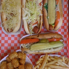 Photo taken at Fab Hot Dogs by Mil K. on 5/2/2011