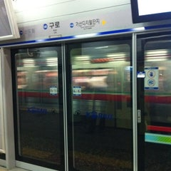 Photo taken at 구로역 (Guro Stn.) by Ryan Y. on 6/29/2012