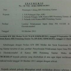 Photo taken at Bag. Marketing Kanca BRI P. Siantar by Nurul S. on 10/19/2011