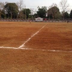 Photo taken at สนามกีฬา โรงเรียนบ้านภูเงิน by Karipet I. on 3/19/2012