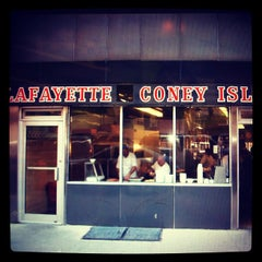 Photo taken at Lafayette Coney Island by EXTRACREEPY on 5/22/2012