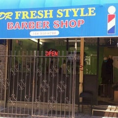 Photo taken at DR Fresh Style Barber Shop by Raul A. on 5/12/2012