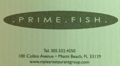 Photo of American Restaurant Prime Fish at 100 Collins Avenue, Miami Beach, FL 33139, United States